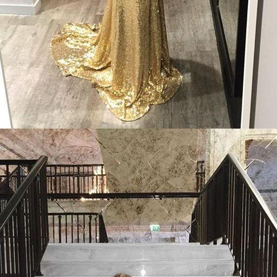 Sparkly V Neck Gold Sequins Long Prom Dress,Fashion Prom Dress,Sexy Party Dress,Custom Made Evening Dress